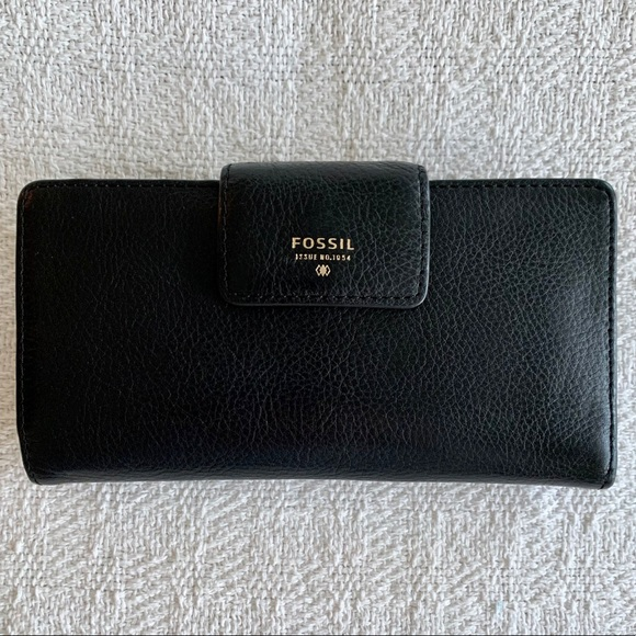 FOSSIL Black Leather Wallet Tab Clutch with Snap